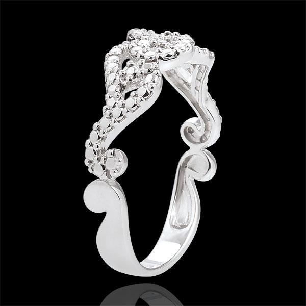 Pierścionek z białego złota 9-karatowego i diamentu - Przeplatane arabeski