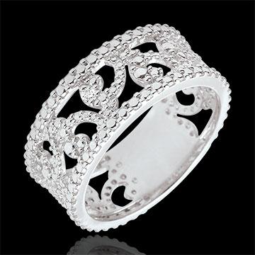 Pierścionek z białego złota 9-karatowego i diamentu - Varda