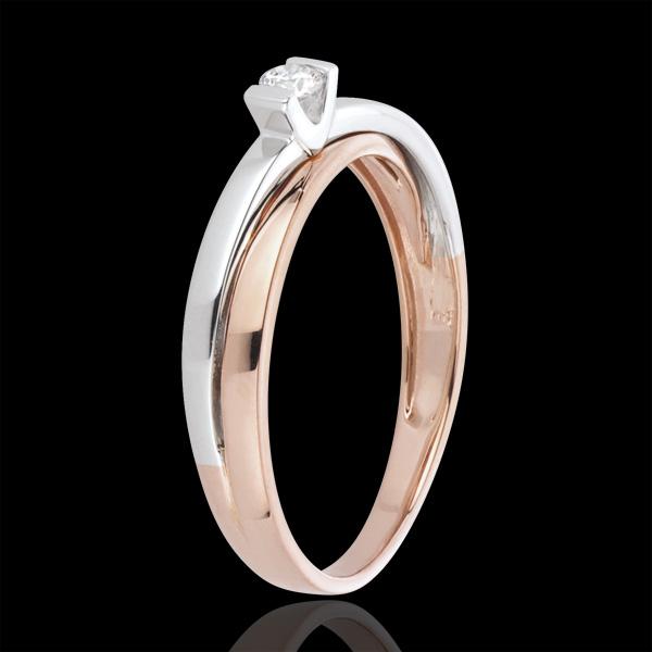 Pierścionek Błysk z jednym diamentem - 0,07 karata - złoto białe i złoto różowe 18-karatowe