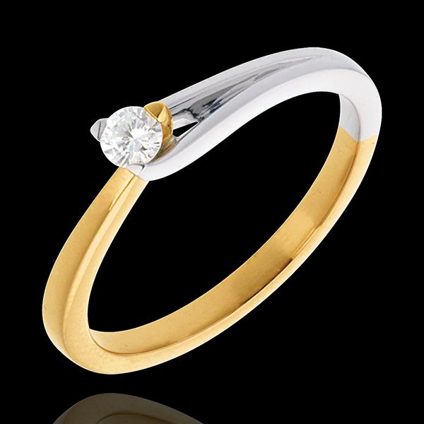 Pierścionek Broszka z jednym diamentem - diament 0,11 karata - złoto białe i złoto żółte 18-karatowe