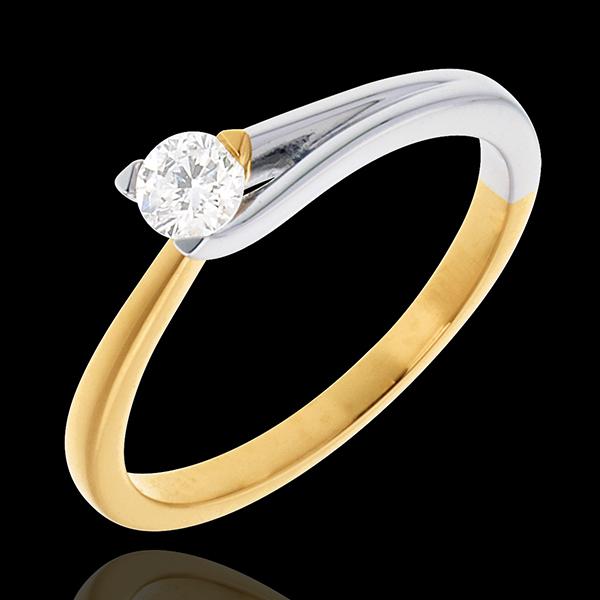 Pierścionek Broszka z jednym diamentem - diament 0,23 karata - złoto białe i złoto żółte 18-karatowe