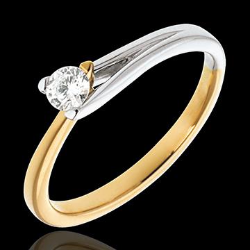 Pierścionek Broszka z jednym diamentem - złoto białe i złoto żółte 18-karatowe