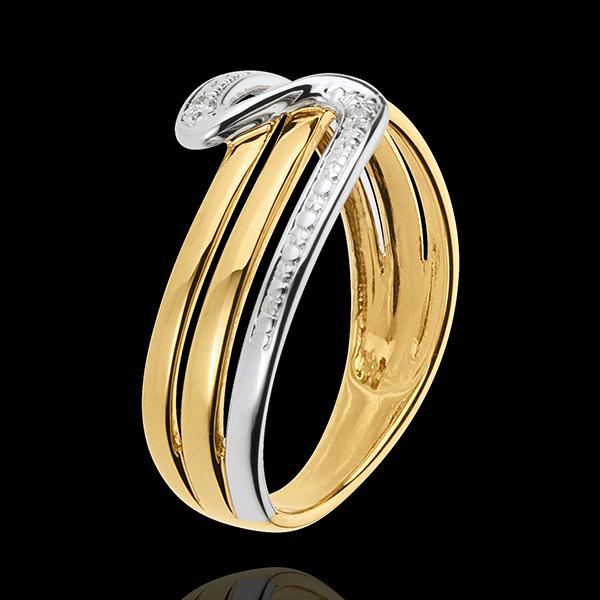 Pierścionek Cisza z białego i żółtego złota 18-karatowego