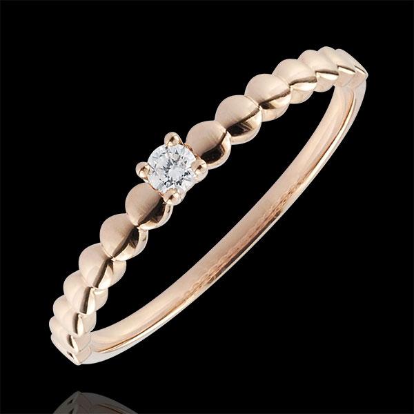Pierścionek Cukierki z różowego złota 9-karatowego z jednym diamentem