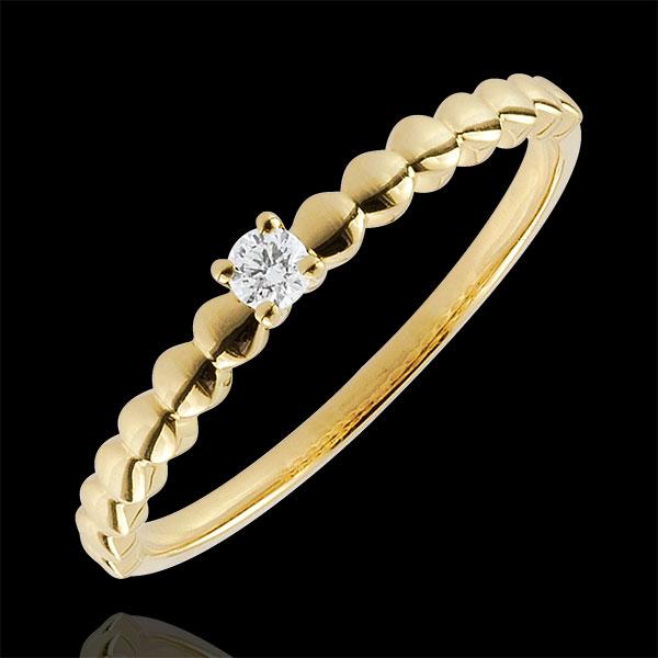 Pierścionek Cukierki z żółtego złota 9-karatowego z jednym diamentem