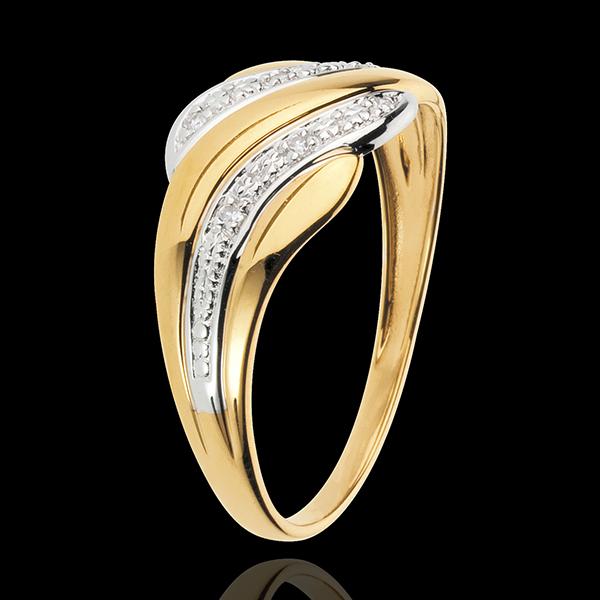 Pierścionek Czułość Pustyni - złoto białe i złoto żółte 18-karatowe
