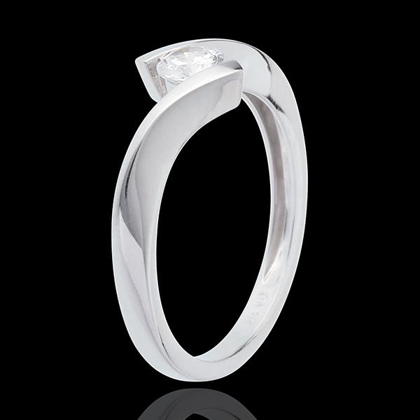 Pierścionek Drogocenne Gniazdo z jednym diamentem - Apostrof - złoto białe 18-karatowe - 0,31 karata
