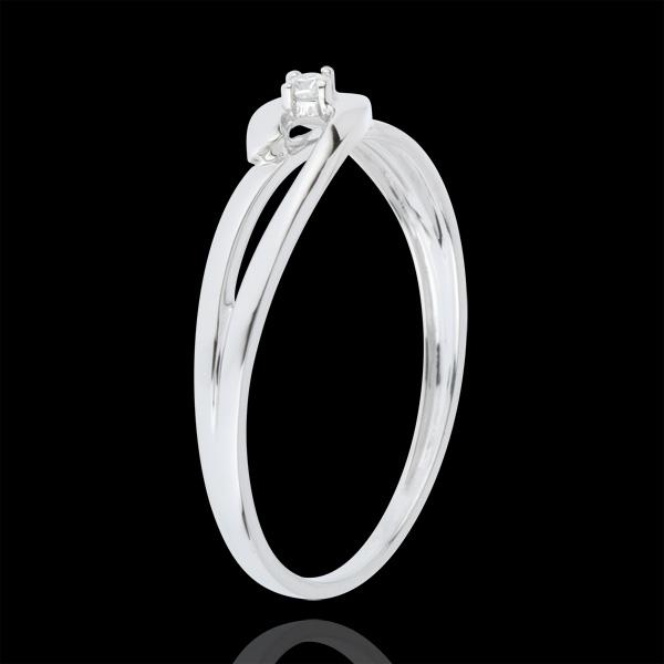 Pierścionek Drogocenne Gniazdo z jednym diamentem - Biały Związek - złoto białe 18-karatowe