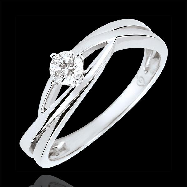 Pierścionek Drogocenne Gniazdo z jednym diamentem - Dova - diament 0,15 karata - złoto białe 18-karatowe