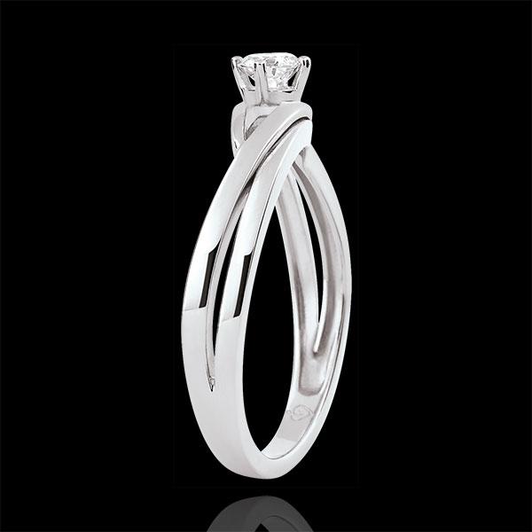 Pierścionek Drogocenne Gniazdo z jednym diamentem - Dova - diament 0,15 karata - złoto białe 9-karatowe