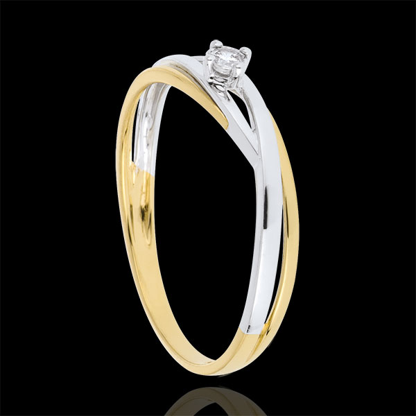 Pierścionek Drogocenne Gniazdo z jednym diamentem - Dova – dwa rodzaje złota - diament 0,03 karata - złoto białe i złoto żółte 1