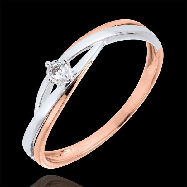 Pierścionek Drogocenne Gniazdo z jednym diamentem - Dova - złoto białe i złoto różowe 9-karatowe