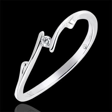 Pierścionek Drogocenne Gniazdo z jednym diamentem – Gałązka – białe złoto 18-karatowe z diamentem