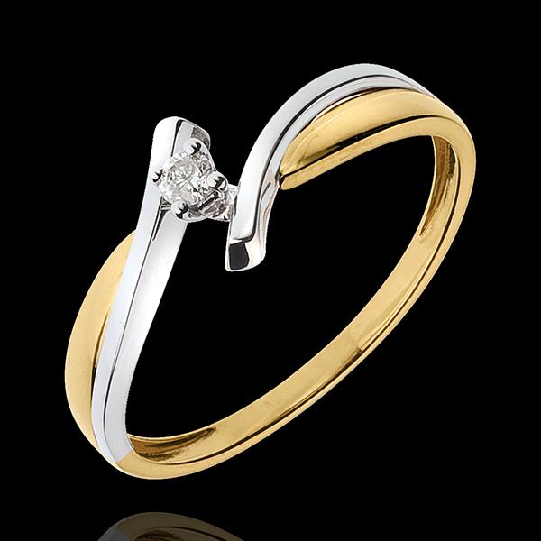 Pierścionek Drogocenne Gniazdo z jednym diamentem - Jupiter - diament 0,05 karata - złoto białe i złoto żółte 18-karatowe