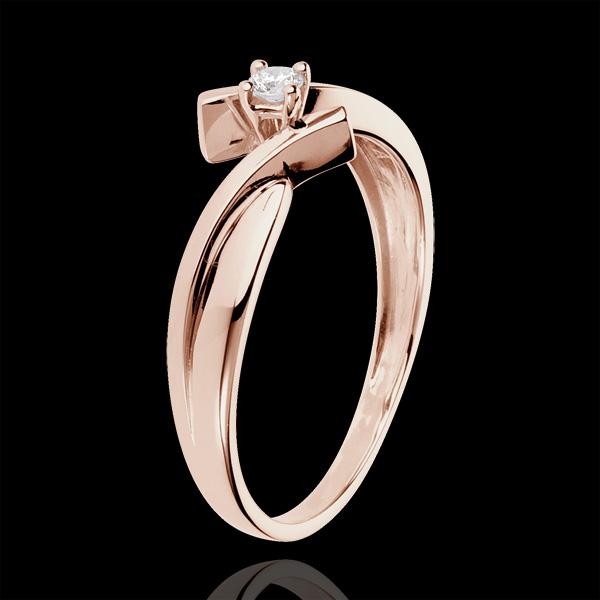 Pierścionek Drogocenne Gniazdo z jednym diamentem - Jupiter - złoto różowe 18-karatowe - 0,05 karata