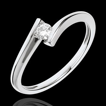 Pierścionek Drogocenne Gniazdo z jednym diamentem - Księżycowa Eklipsa - złoto białe 18-karatowe
