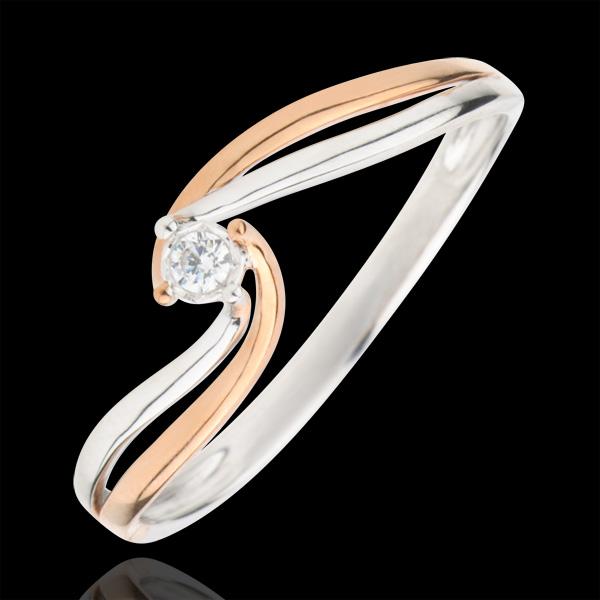 Pierścionek Drogocenne Gniazdo z jednym diamentem - Kunsztowny - diament 0,03 karata - złoto białe i złoto różowe 9-karatowe