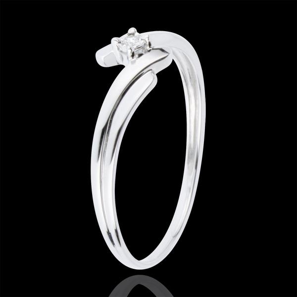 Pierścionek Drogocenne Gniazdo z jednym diamentem - Łabędź - złoto białe 18-karatowe