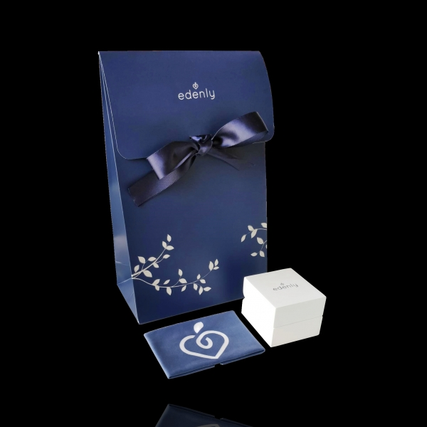 Pierścionek Drogocenne Gniazdo z jednym diamentem - Nocna Fala - złoto białe 18-karatowe