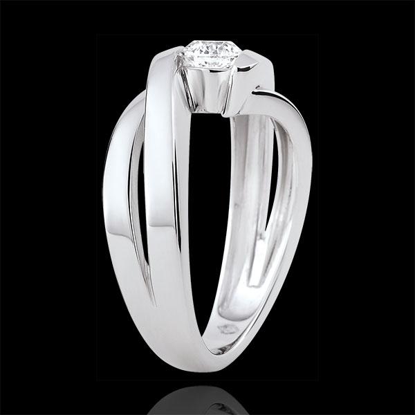 Pierścionek Drogocenne Gniazdo z jednym diamentem - Ondine - diament 0,4 karata - złoto białe 18-karatowe