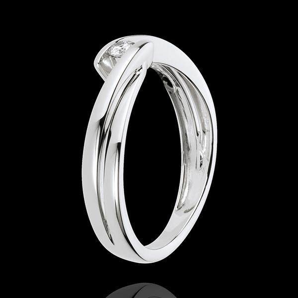 Pierścionek Drogocenne Gniazdo z jednym diamentem - Ondine - złoto białe 18-karatowe - 1 diament: 0,07 karata