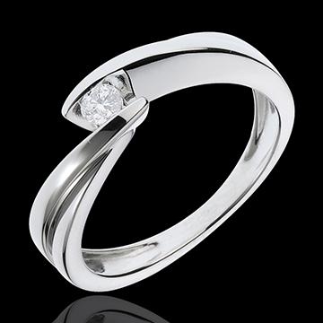 Pierścionek Drogocenne Gniazdo z jednym diamentem - Ondine - złoto białe 18-karatowe - 1 diament: 0,11 karata