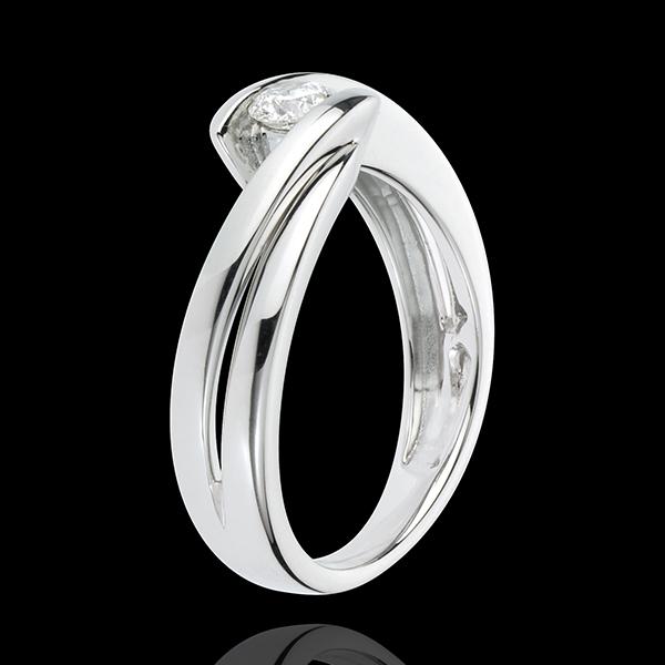 Pierścionek Drogocenne Gniazdo z jednym diamentem - Ondine - złoto białe 18-karatowe - 1 diament: 0,21 karata