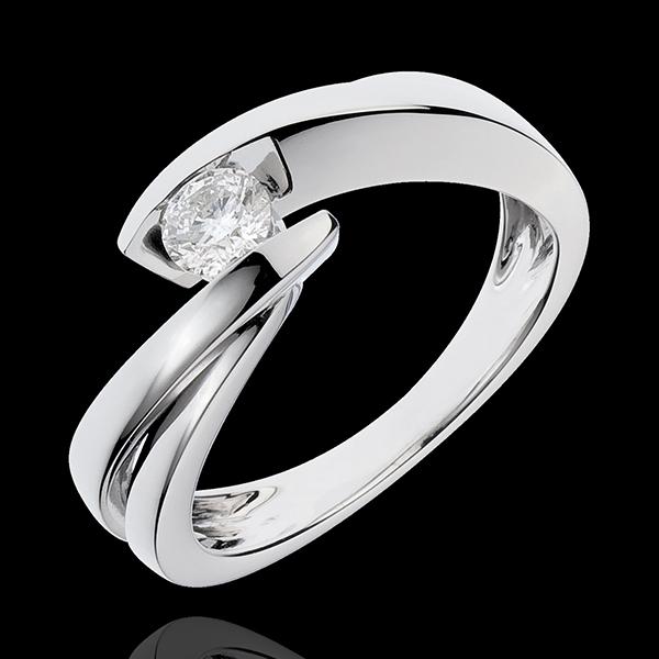 Pierścionek Drogocenne Gniazdo z jednym diamentem - Ondine - złoto białe 18-karatowe - 1 diament: 0,27 karata