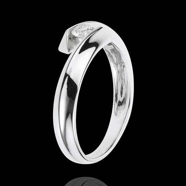 Pierścionek Drogocenne Gniazdo z jednym diamentem - Orfeusz - złoto białe 18-karatowe