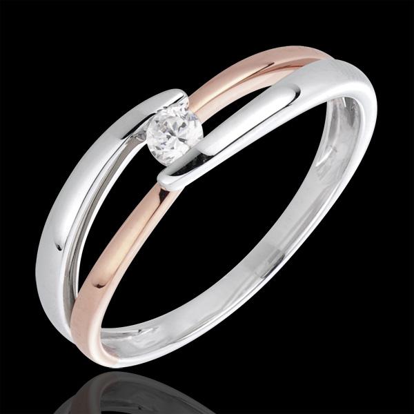 Pierścionek Drogocenne Gniazdo z jednym diamentem - Poranek - diament 0,10 karata - złoto białe i złoto różowe 18-karatowe