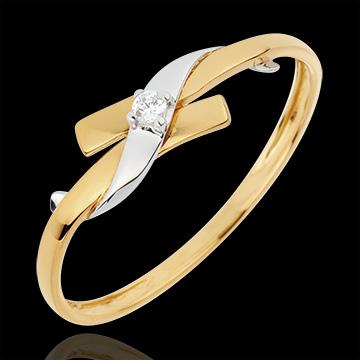 Pierścionek Drogocenne Gniazdo z jednym diamentem - Raj - złoto białe i złoto żółte 18-karatowe