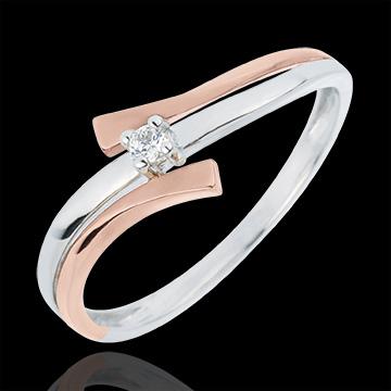 Pierścionek Drogocenne Gniazdo z jednym diamentem - Światło wariacja - diament 0,032 karata - złoto białe i złoto różowe 18-kara