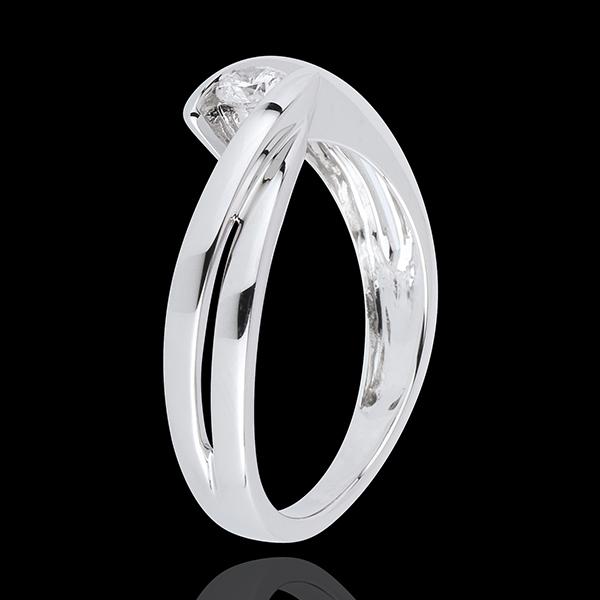 Pierścionek Drogocenne Gniazdo z jednym diamentem - Szczyt diament - złoto białe 18-karatowe