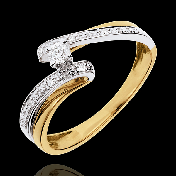 Pierścionek Drogocenne Gniazdo z jednym diamentem - Układ Słoneczny - diament 0,08 karata - złoto białe i złoto żółte 18-karatow