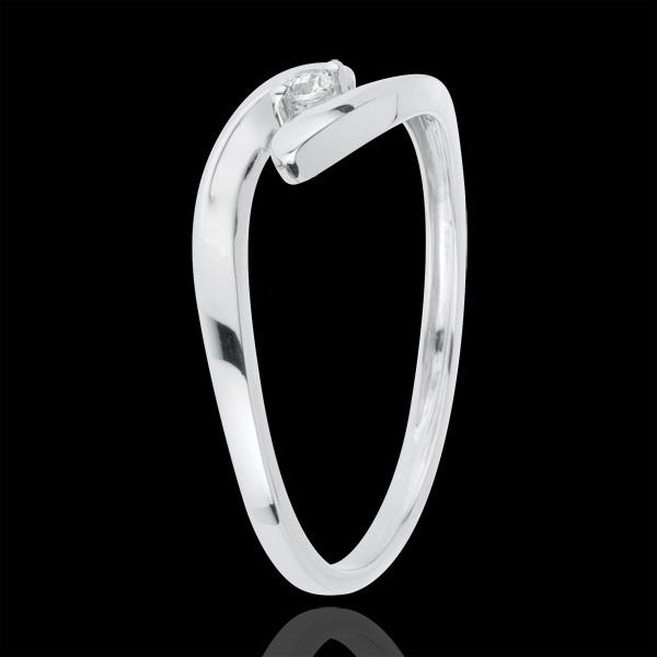 Pierścionek Drogocenne Gniazdo z jednym diamentem - Ukochana - złoto białe 18-karatowe