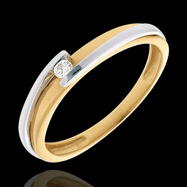 Pierścionek Drogocenne Gniazdo z jednym diamentem - Z zachodzącymi na siebie ramionami - diament 0,04 karata - złoto białe i zło