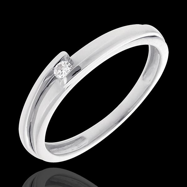 Pierścionek Drogocenne Gniazdo z jednym diamentem - Z zachodzącymi na siebie ramionami - złoto białe 18-karatowe - 0,04 karata