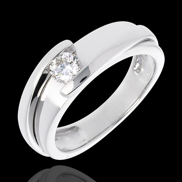 Pierścionek Drogocenne Gniazdo z jednym diamentem - Z zachodzącymi na siebie ramionami - złoto białe 18-karatowe (bardzo duży mo