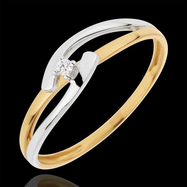 Pierścionek Drogocenne Gniazdo z jednym diamentem - Związek Dwubarwny - diament 0,02 karata - złoto białe i złoto żółte 18-karat