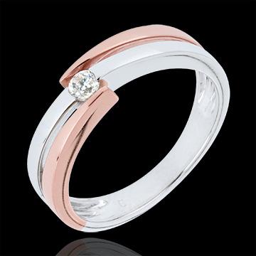 Pierścionek Drogocenne Gniazdo - obrączki z pojedynczym diamentem - 0,1 karata - złoto białe i złoto różowe 9-karatowe