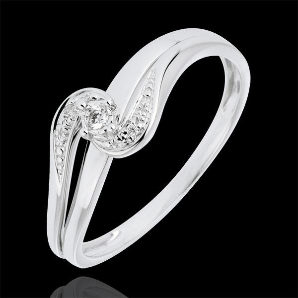 Pierścionek Drogocenne Gniazdo z pojedynczym diamentem w towarzystwie innych diamentów - Sophia - złoto białe 9-karatowe - diame