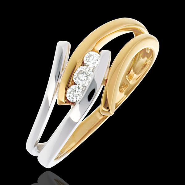 Pierścionek Drogocenne Gniazdo z potrójnym diamentem - Arabeska - diament 0,11 karata - złoto białe i złoto żółte 18-karatowe