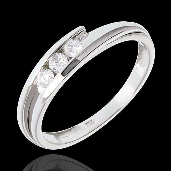 Pierścionek Drogocenne Gniazdo z potrójnym diamentem - Pierścionek z białego złota 18-karatowego z zachodzącymi na siebie ramion