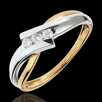 Pierścionek Drogocenne Gniazdo z potrójnym diamentem - Solfeż - złoto białe i złoto żółte 18-karatowe - 3 diamenty