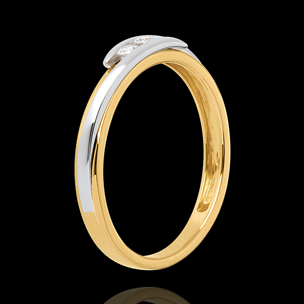 Pierścionek Drogocenne Gniazdo z potrójnym diamentem - Z zachodzącymi na siebie ramionami - 3 diamenty 0,11 karata - złoto białe