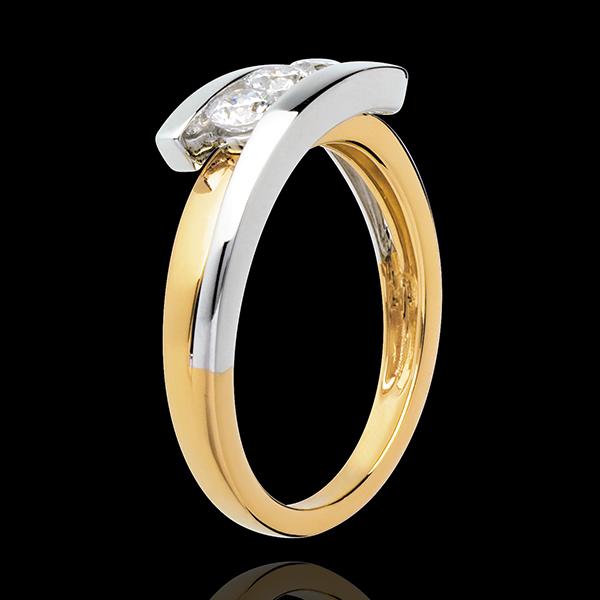 Pierścionek Drogocenne Gniazdo z potrójnym diamentem - Z zachodzącymi na siebie ramionami - 3 diamenty 0,41 karata - złoto białe