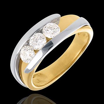 Pierścionek Drogocenne Gniazdo z potrójnym diamentem - Z zachodzącymi na siebie ramionami - (bardzo duży model) - 3 diamenty 0,7