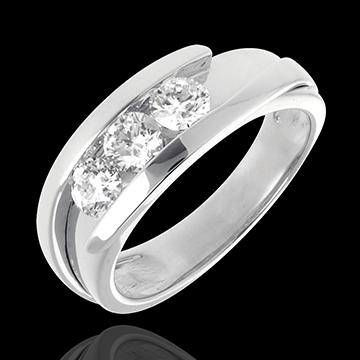 Pierścionek Drogocenne Gniazdo z potrójnym diamentem - Z zachodzącymi na siebie ramionami (bardzo duży model) - złoto białe 18-k