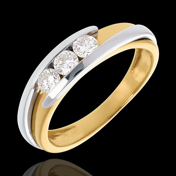 Pierścionek Drogocenne Gniazdo z potrójnym diamentem - Z zachodzącymi na siebie ramionami - diament 0,38 karata - złoto białe i