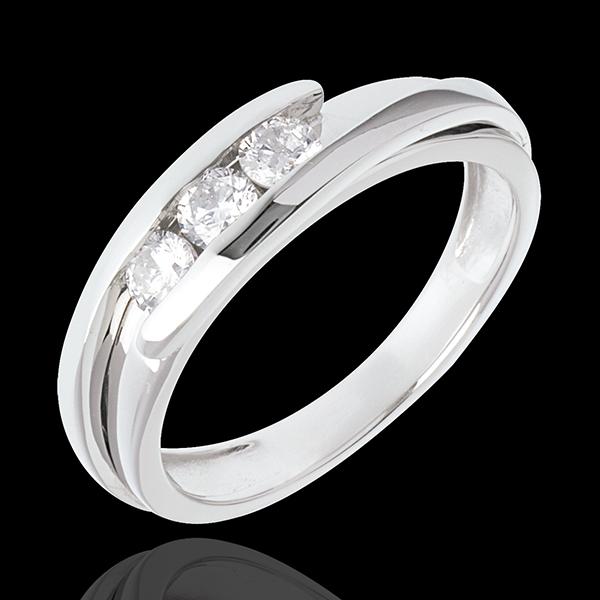 Pierścionek Drogocenne Gniazdo z potrójnym diamentem - Z zachodzącymi na siebie ramionami - złoto białe 18-karatowe - 0,38 karat